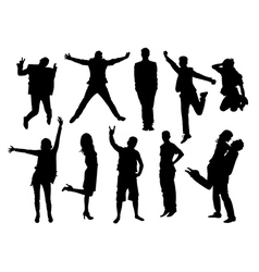 Active people silhouettes collection vector