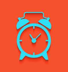 Alarm clock sign whitish icon on brick vector