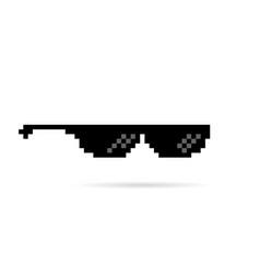 Black thug life meme like glasses in pixel art vector