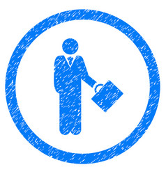 Businessman rounded grainy icon vector