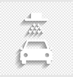 Car wash sign white icon with soft shadow vector