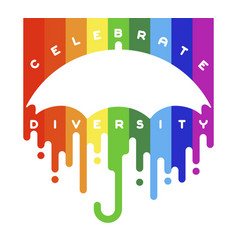 celebrate diversity lettering with open umbrella vector image vector image