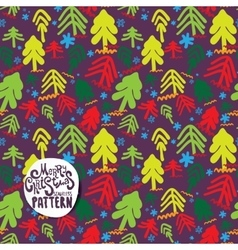 Color christmas trees on violet background vector image vector image