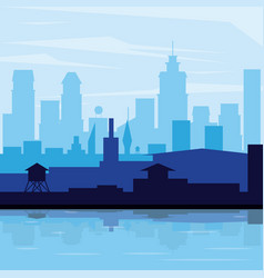 Colorful background landscape city in the morning vector