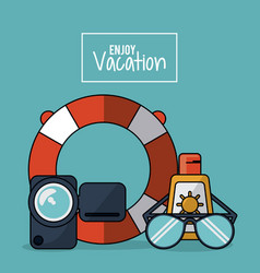 Colorful poster of enjoy vacation with video vector