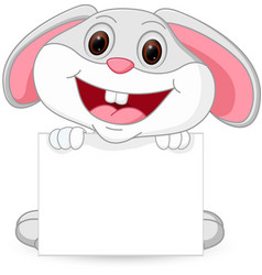 cute rabbit cartoon with sign vector image