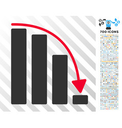 Falling acceleration bar chart flat icon with vector