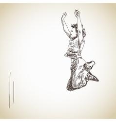 Jumping young woman vector