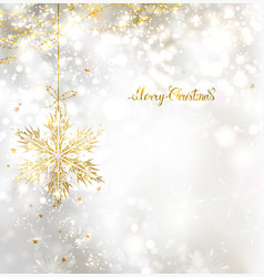 Light christmas background with snowflake vector