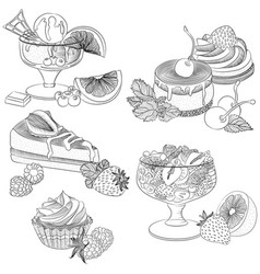 line art various fruit desserts vector image vector image