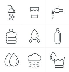 Line Icons Style Water related Icons Set Design vector image vector image