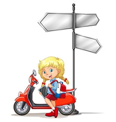 Little girl and motorcycle next to the sign vector