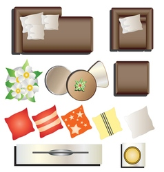 Living room furniture top view set 12 for interior vector image