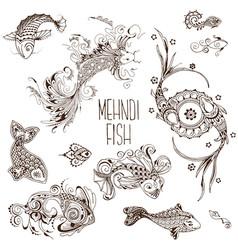 Mehendi fish pattern vector