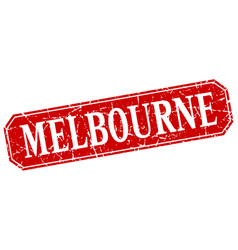 Melbourne red square grunge retro style sign vector