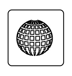 monochrome contour square with globe earth icon vector image