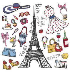 Paris france fashion summer setwomangirl colored vector