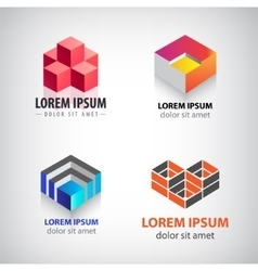 set of 3d cube geometric structure logos vector image