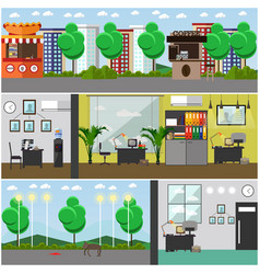 Set of detective office interior posters in vector
