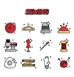 Sewing flat icons set vector image vector image