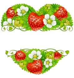 Strawberry frame in the shape of heart vector
