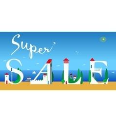 Super sale artistic font summer beach vector