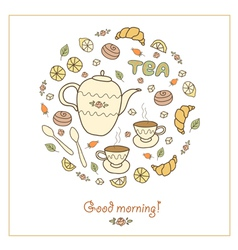 Tea coffee and sweets vector
