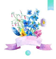 Watercolor summer flowers vector