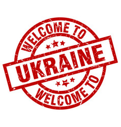 Welcome to ukraine red stamp vector
