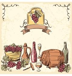 Wine vintage hand drawn vector image