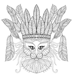 Zentangle Cat with indian war bonnet bird feathers vector image