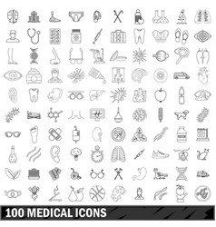 100 medical icons set outline style vector image