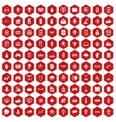100 robot icons hexagon red vector