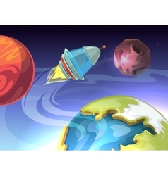 Space cartoon comic background with vector image