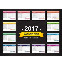 Year 2017 calendar template with space for photo vector