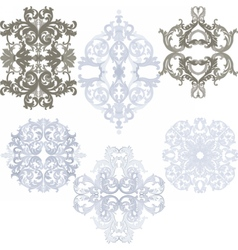 Damask pattern elements set vector