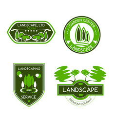 Landscape design studio label set vector