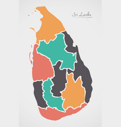 Sri lanka map with states and modern round shapes vector