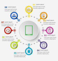 Infographic template with gadget icons vector