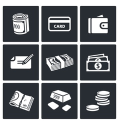 Money icon collection vector