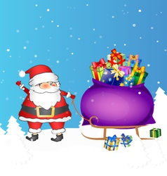Santa with bag of gifts vector