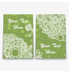 Set of Green Card with Intricate Ornament vector image