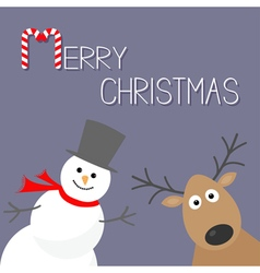 Snowman and deer violet background candy cane vector