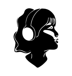 Girl listening to music icon vector