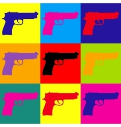 Gun sign pop-art style icons set vector
