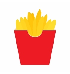 French fries potato in red paper box icon vector