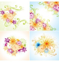 Four floral designs vector