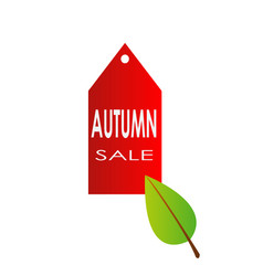 autumn sale with red label banner icon and autumn vector image