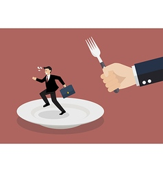 Businessman run away from big hungry man vector