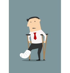 Businessman with broken leg and crutches vector image